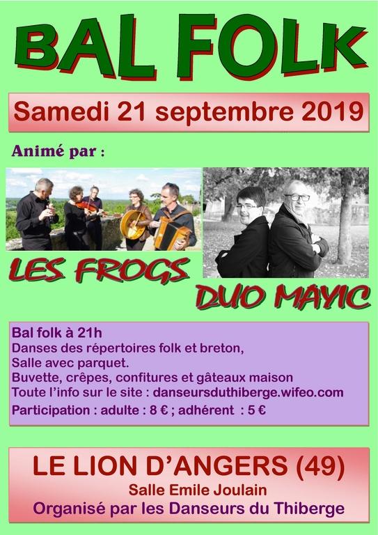 Affiche Bal Folk 2019 au Lion d`Angers (49) Danseurs du Thiberge